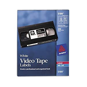 Avery® - Inkjet/Laser Video Tape Labels, Matte White, 600/Pack - Sold As 1 Pack - Easily identify tapes.