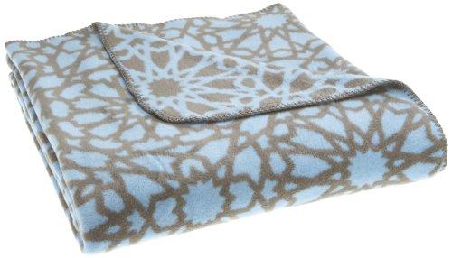 Biederlack 585745 World Affairs - Manta con diseño estampado (150 x 200 cm, 60% algodón y 40% acrílico), color gris y azul