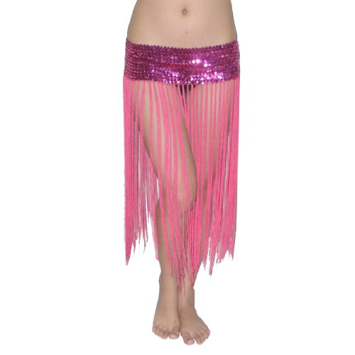 Ladies Sexy Exotic Belly Dance Sequins Stretch Costume Belt Skirt With Fringe