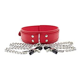 Bedmate Erotic Bondage Neck Collar with Metal Chain Nipple Clamps
