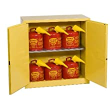 "Eagle 1932SC6 Combo Safety Cabinet for Flammable Liquids, 2 Door Manual Close, 30 gallon, 44""Height, 43""Width, 18""Depth, Steel, Yellow"