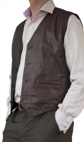 Ashwood Mens Casual Soft Lightweight Genuine Real Leather Waistcoat (Black, Brown, Burgundy)