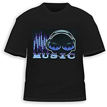 HDE Men's Sound-Activated LED T-Shirt (Alien, Medium)
