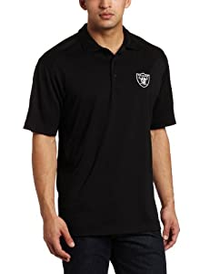 NFL Oakland Raiders Men's Drytec Genre Polo Knit Short Sleeve Top, Black, Large