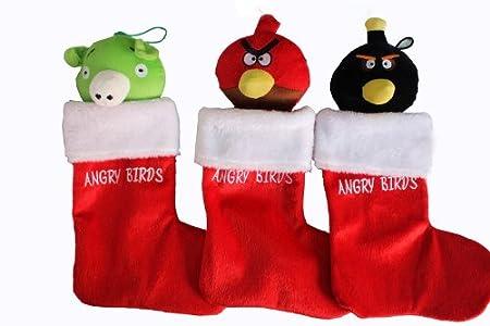Angry Birds 3 Adorable Assorted Christmas Plush Stockings