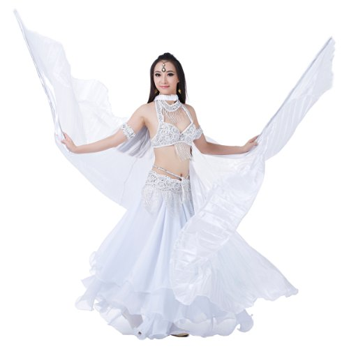 Dance Fairy 2014 performance opening shows white Simulated Silk belly dance wings