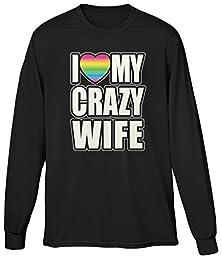 buy Blittzen Mens Ls I Love My Crazy Wife - Neon Heart, M, Black