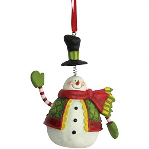 Smiling Snowman Holiday Christmas Tree Ornament with Springy Top Hat