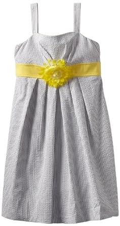 Ruby Rox Big Girls' Seersucker Dress, Black/White/Yellow, 7