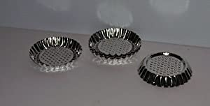 "Lot of 6 Mini Flan Pan 3 1/2"" Tart Molds Stainless"