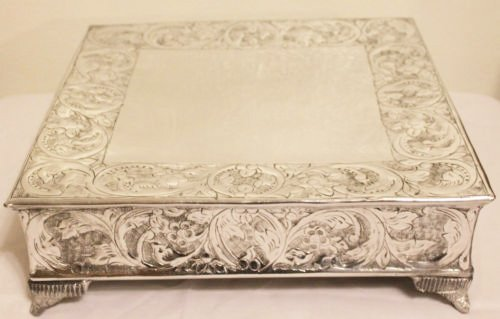 14 Inch Silver Square Wedding Cake Stand Plateau Square Footed Cake