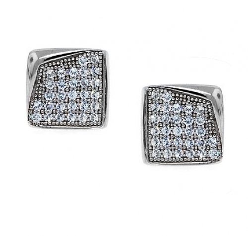 Bling Jewelry Sterling Silver Bent Corner Micro Pave Stud Earrings 8mm