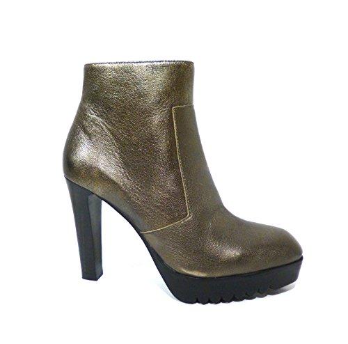 Scarpe donna tronchetto stivaletto alla caviglia bronzo con tacco alto Bruno Premi 6300X samba acciaio n° 36