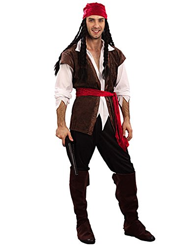 HDE Men's Caribbean Style Buccaneer Pirate Halloween Costume Party Outfit