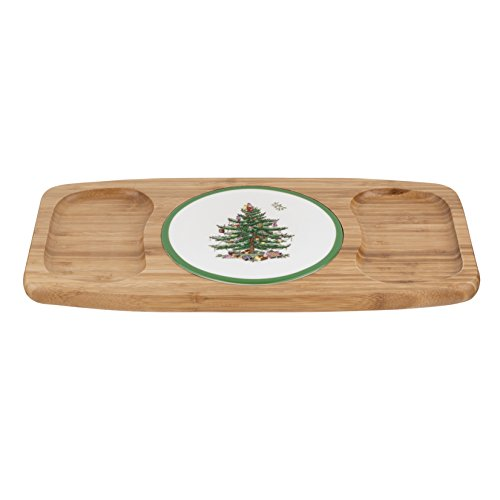 Spode Christmas Tree Wood and Ceramic Cheese Tray