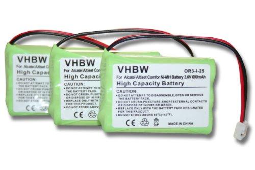 3 x Batterie VHBW 600mAh per Telefono fisso cordless Motorola Babyphone 188610 MBP36, Thomson T7400, T7800