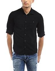 Bandit Black Dotted Print Casual slim Fit Shirt