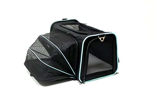 Bark and Meow Premium Expandable Foldable Travel Carrier Airline Approved DCC1800D-M Black/Aqua (Large, Black)