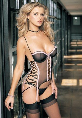 2PC Ribbon Trimmed Mesh Underwire Camisole Sexy Lingerie Intimate Apparel with Lace Up Sides and G-String