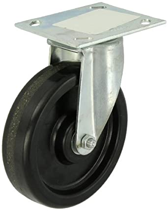 "E.R. Wagner Plate Caster, Swivel, Phenolic Wheel, Roller Bearing, 450 lbs Capacity, 6"" Wheel Dia, 1-1/2"" Wheel Width, 7-3/8"" Mount Height"