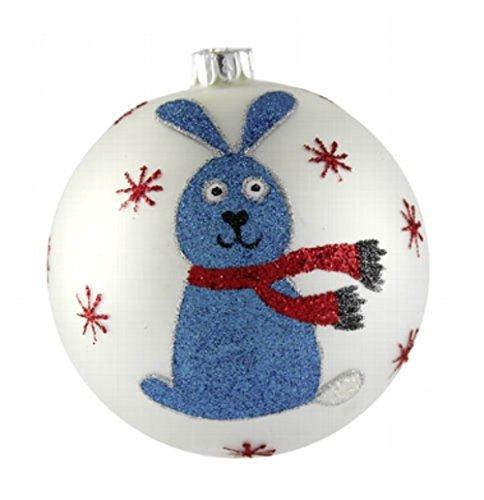 Christbaumkugel-Hase-weiss-blau-glitter--10-cm-Hingucker-handbemalt-mundgeblasen-lustiges-Weihnachtsmotiv--Christbaumschmuck--Baumschmuck--Baumkugel