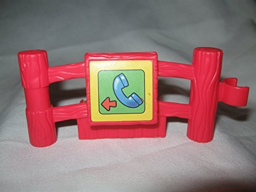 Fisher Price Little People Animal Sounds Zoo Baby Animal Zoo Play Set Replacement Piece RED Fence w/ PHONE Decal Fence Piece - 1