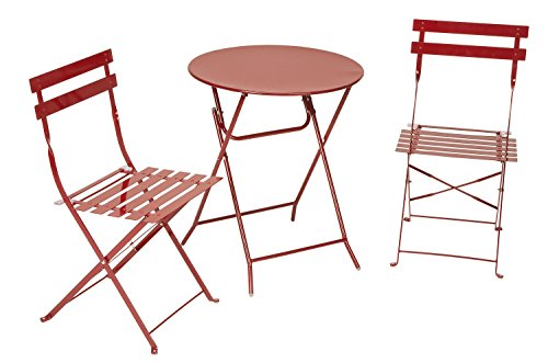 Cosco 3-Piece Folding Bistro-Style Patio Table and Chairs Set, Red (Bistro Tables And Chairs compare prices)