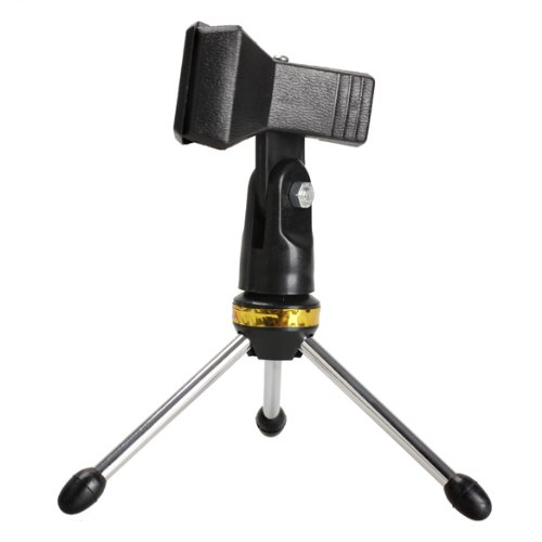Vktech New Desktop Table Metal Mini Tripod Microphone Stand Holder Mic Clip Black