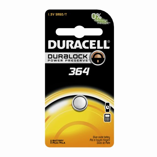 Duracell D364Bpk09 Silver Oxide Electronic Watch Battery, 364 Size, 1.55V, 18 Mah Capacity (Case Of 6)