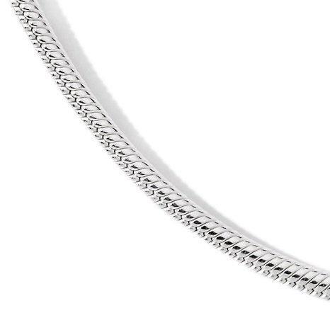 Italian Solid Sterling Silver Snake Chain, 1.2 mm Width, Packaged in an Organza Jewelry Gift Bag