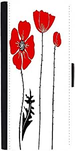 Snoogg Stylish Red And Black Poppies On White Background Graphic Snap On Hard...