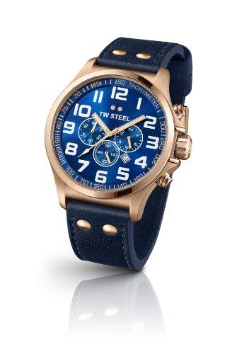 TW Steel  Pilot - Reloj de cuarzo para mujer, con correa de cuero, color azul