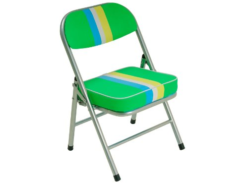 JIP PU Funky Stripes Childrens Folding Retro Chair, Green