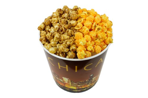 Signature Popcorn - Gourmet Popcorn - 1-Gallon Chicago Skyline Reusable Plastic Tin, 2-flavors - Caramel and Cheddar Cheese (Garrett Popcorn From Chicago compare prices)