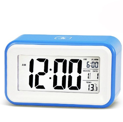 WAYCOM® Silent Digital 6 Alarm Clock with Date and Temperature Display, Repeating Snooze, Light-activated Sensor Light and Touch-activated Nightlight (Blue)