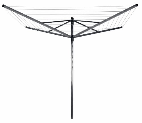 Brabantia Lift-O-Matic Rotary Dryer with 45mm Metal Soil Spear, 50m, 4 arms, Metallic Grey