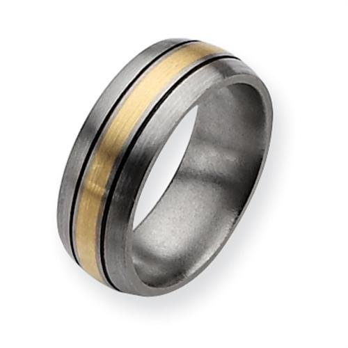 Titanium 14k Gold Inlay 8mm Brushed and Antiqued Comfort Fit Wedding Band (Size 11)