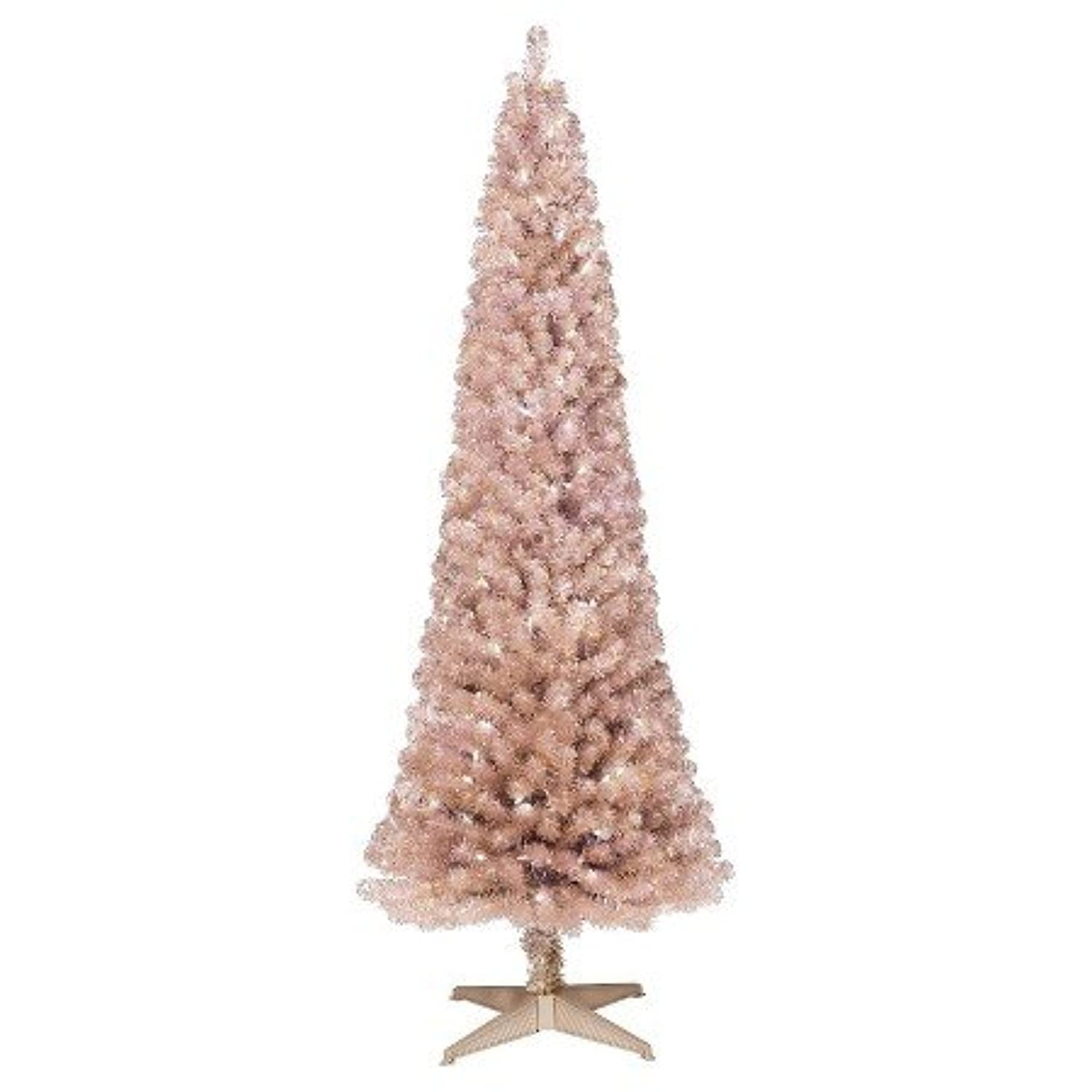 6ft pre lit artificial christmas tree slim rose gold for Gold christmas tree lights
