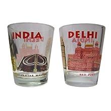 """The Bombay Store Glass Shot Glass- Delhi Monument Print ( Set Of 2 ) H 2.5"""""""