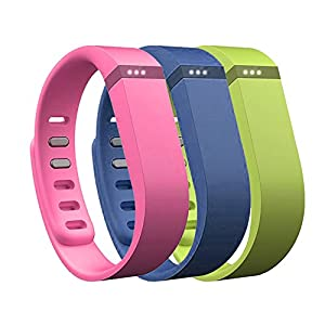AFUNTA Set Large L 1pc Navy (Blue) 1pc Lime (Green) 1pc Purple (Pink) Replacement Bands with Clasps for Fitbit FLEX Only /No tracker/ Wireless Activity Bracelet Sport Wristband Fit Bit Flex Bracelet Sport Arm Band Armband