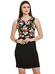 Black Floral Print Poly Crepe Dress with Wrinkle Lower
