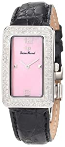 Lucien Piccard Women's 27062PK Le Tank Diamond Accented Pink Mother-Of-Pearl Black Crocodile Watch