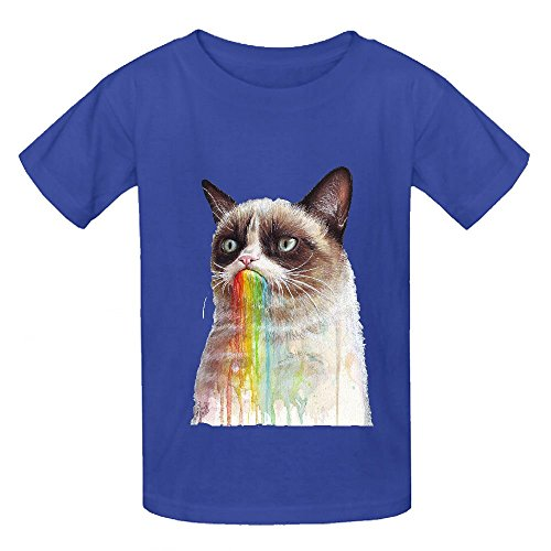 cat-tastes-the-rainbow-painting-boys-crew-neck-print-t-shirt-blue