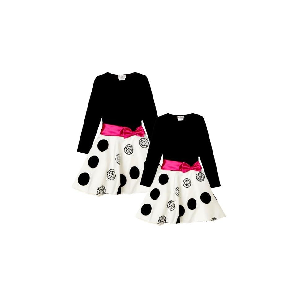 Little Girls 2T 6X Black White Pink Stretch Velvet to Flock Dot Skater Dress