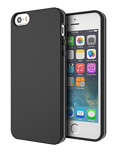 iPhone 5S Case, iPhone SE Case, Shulong [Flexible luxurious Rubber] Slim Light-weight Shock-Proof Protective Case TPU Bumper + [Scratch Resistant] Back For Apple iPhone SE/5S/5 (Black) (Iphone 5s Protective Black Case compare prices)