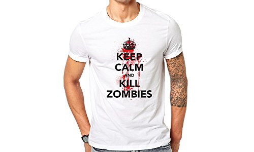 GullPrint Men's Halloween Keep Calm And Kill Zombies T Shirt
