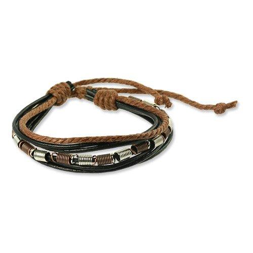 SilberDream Lederarmband schwarz mit braunen Kordeln Surferarmband Leder Armband Echtleder LA1237S
