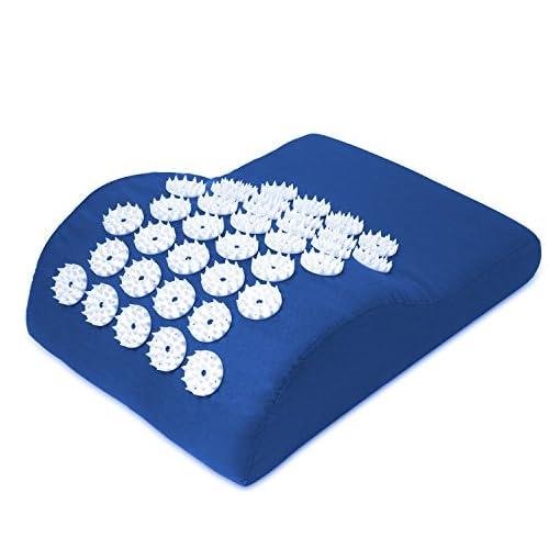 Belmalia-Akupressur-Kissen-fr-Kopf-und-Nacken-Kopfkissen-Massage-Kissen-Fakirkissen-Entspannungskissen-Yantra-TCM-Blau