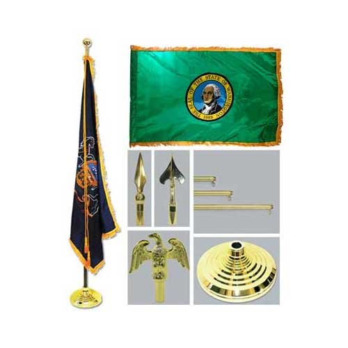 Washington 4Ft X 6Ft Flag Telescoping Flagpole Base And Tassel