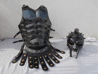 Maximus Gladiator Helmet Medieval Roman Armor Spartan Costume W/ Muscle Jacket